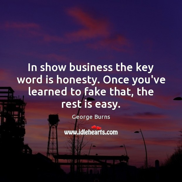 Image, In show business the key word is honesty. Once you've learned to