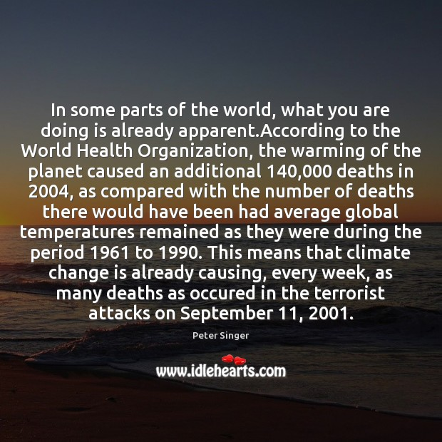 In some parts of the world, what you are doing is already Climate Change Quotes Image