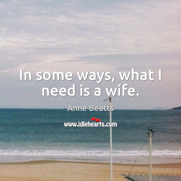 Image, In some ways, what I need is a wife.
