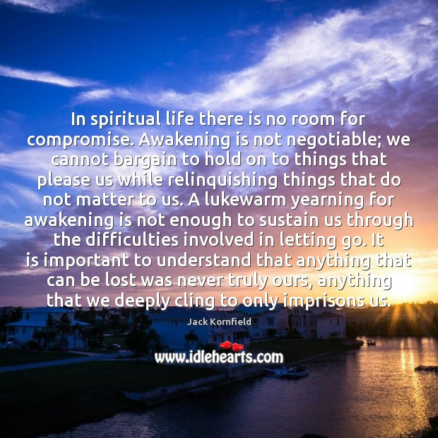 Image, In spiritual life there is no room for compromise. Awakening is not