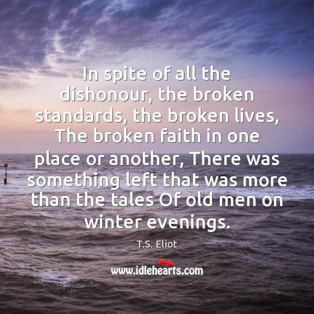 Image, In spite of all the dishonour, the broken standards, the broken lives,