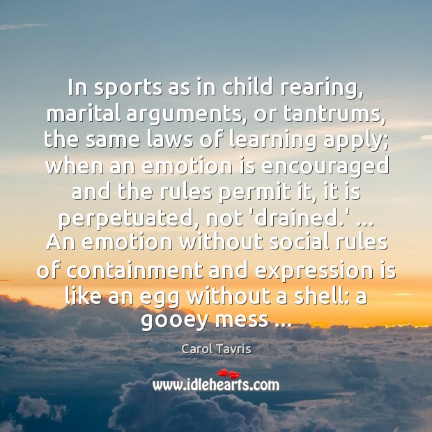 In sports as in child rearing, marital arguments, or tantrums, the same Image