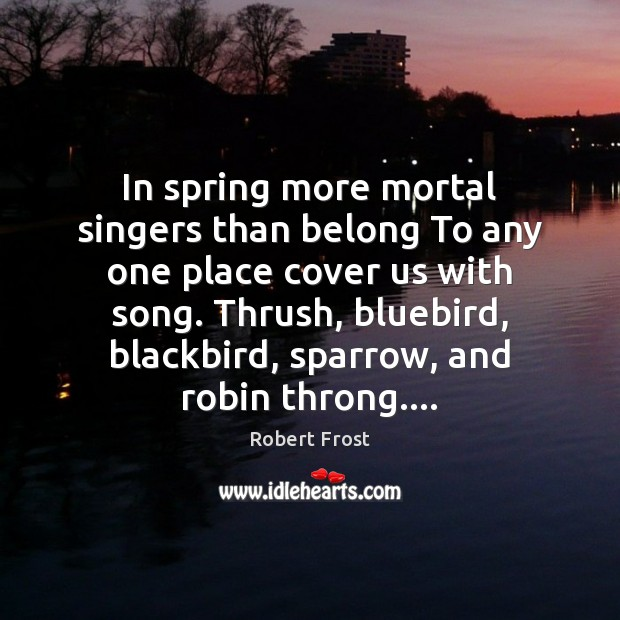 Image, In spring more mortal singers than belong To any one place cover