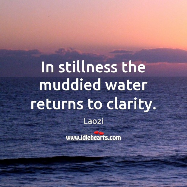 In stillness the muddied water returns to clarity. Image