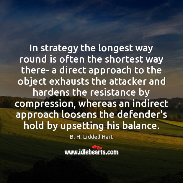 In strategy the longest way round is often the shortest way there- B. H. Liddell Hart Picture Quote