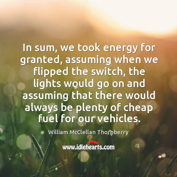 In sum, we took energy for granted, assuming when we flipped the switch, the lights Image