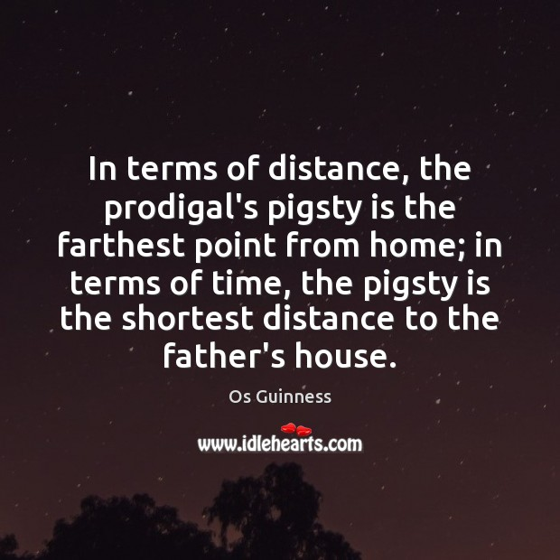 In terms of distance, the prodigal's pigsty is the farthest point from Image