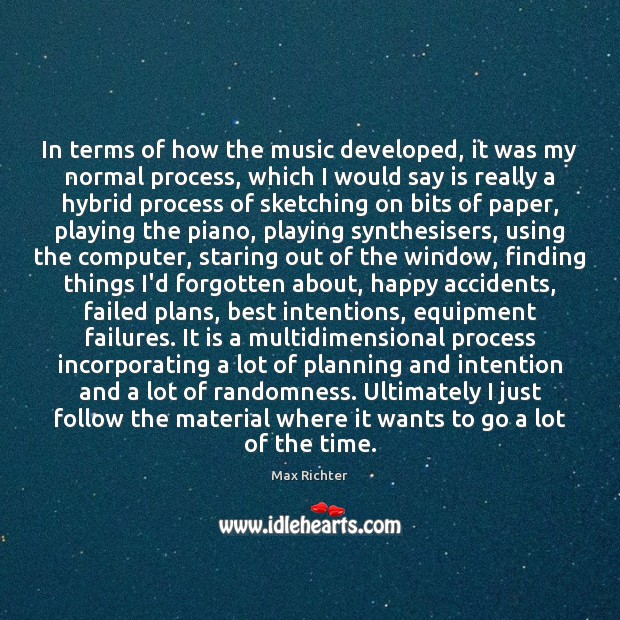 Image, In terms of how the music developed, it was my normal process,