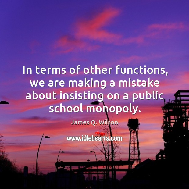 In terms of other functions, we are making a mistake about insisting on a public school monopoly. Image