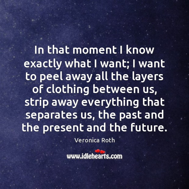 In that moment I know exactly what I want; I want to Veronica Roth Picture Quote