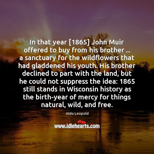 In that year [1865] John Muir offered to buy from his brother … a Image