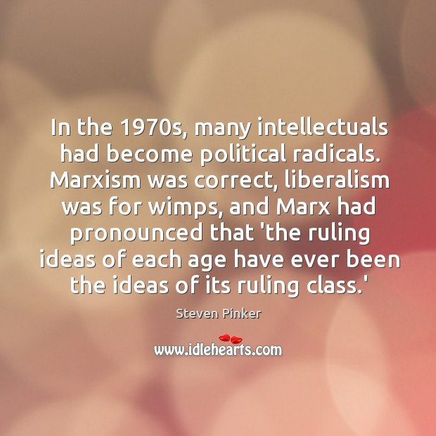 Image, In the 1970s, many intellectuals had become political radicals. Marxism was correct,