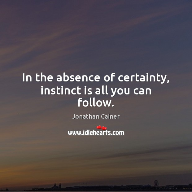 In the absence of certainty, instinct is all you can follow. Image