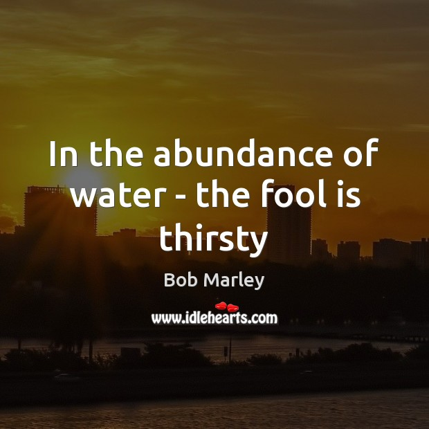 In the abundance of water – the fool is thirsty Image