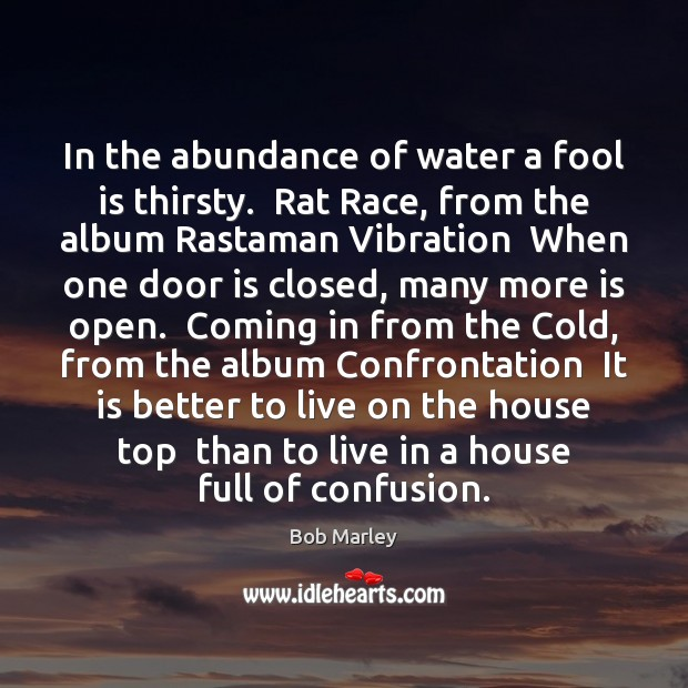 In the abundance of water a fool is thirsty.  Rat Race, from Bob Marley Picture Quote