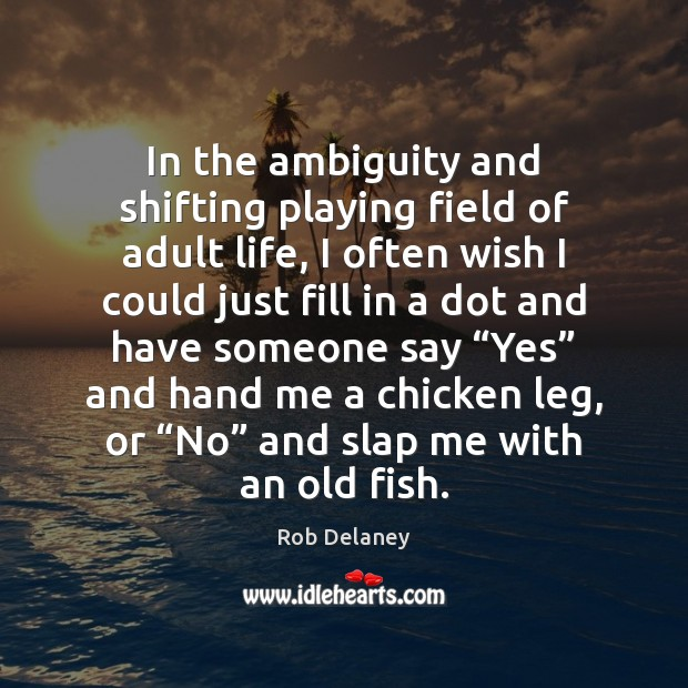 Rob Delaney Picture Quote image saying: In the ambiguity and shifting playing field of adult life, I often