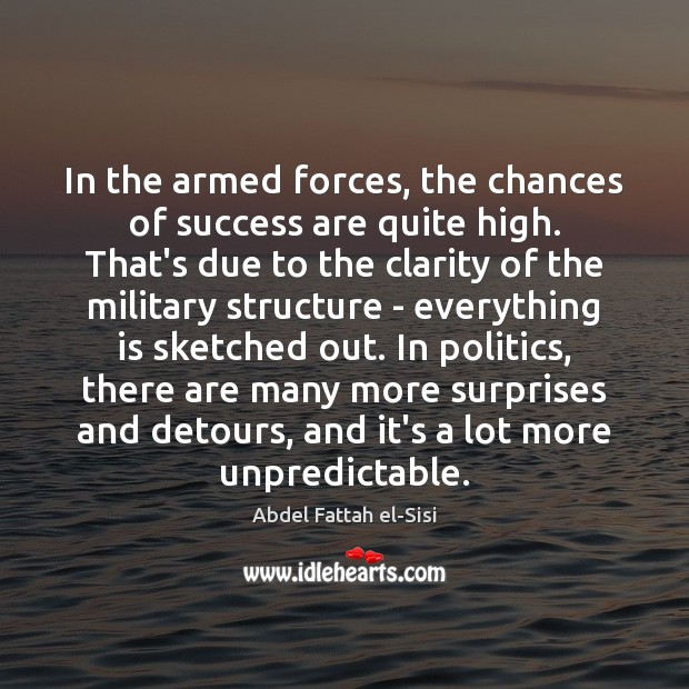 Image, In the armed forces, the chances of success are quite high. That's