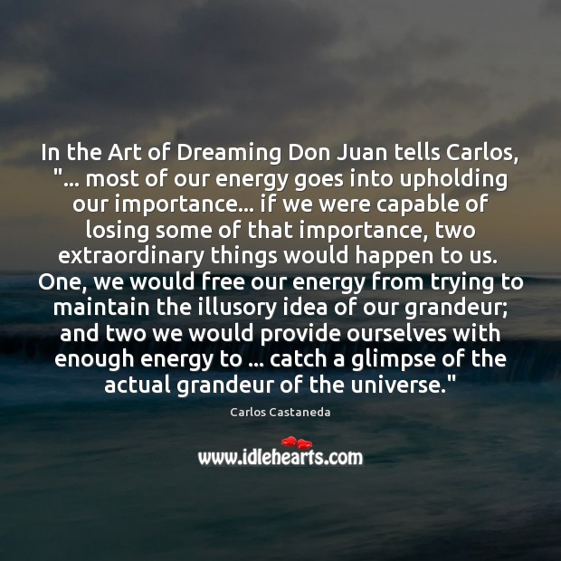 "In the Art of Dreaming Don Juan tells Carlos, ""… most of our Image"