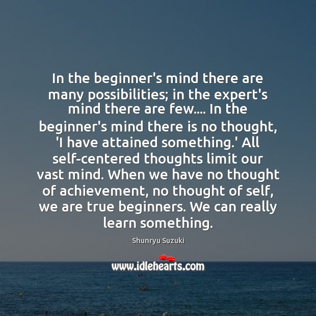 Image, In the beginner's mind there are many possibilities; in the expert's mind