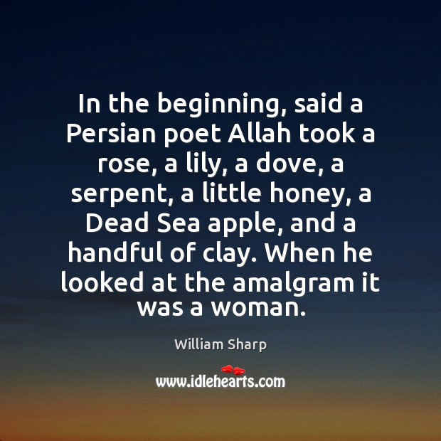 In the beginning, said a Persian poet Allah took a rose, a Image