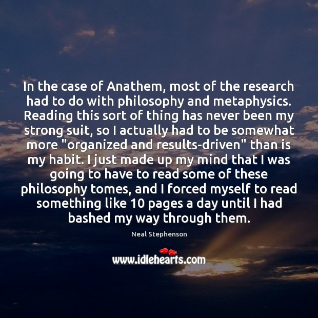 In the case of Anathem, most of the research had to do Image