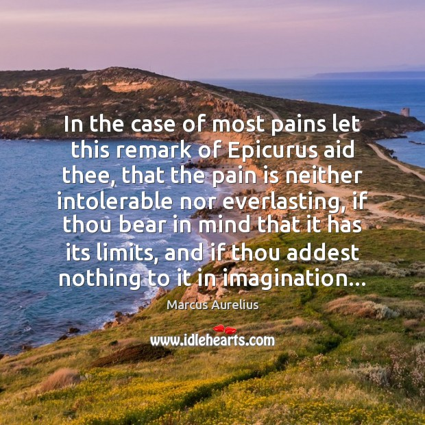 In the case of most pains let this remark of Epicurus aid Pain Quotes Image