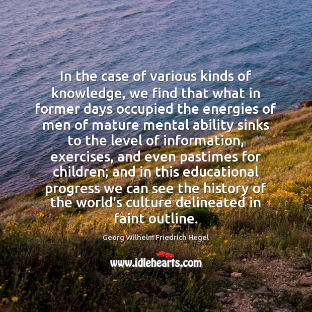 In the case of various kinds of knowledge, we find that what Georg Wilhelm Friedrich Hegel Picture Quote