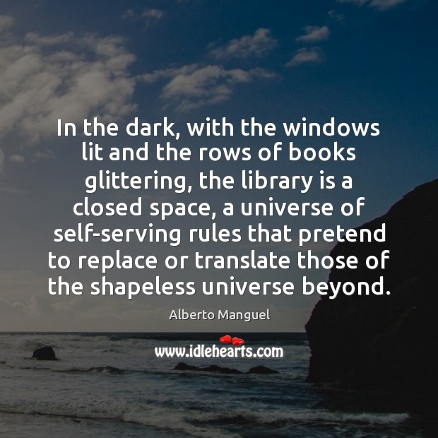 Image, In the dark, with the windows lit and the rows of books