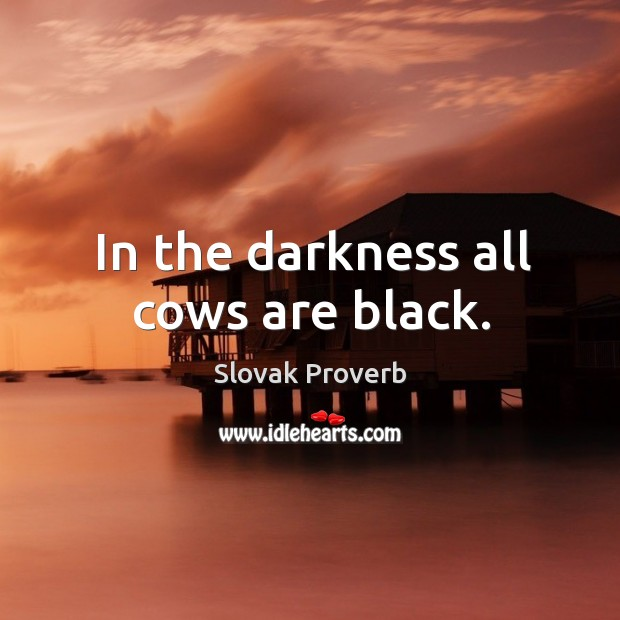 In the darkness all cows are black. Slovak Proverbs Image
