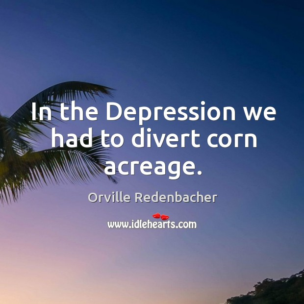 In the depression we had to divert corn acreage. Image