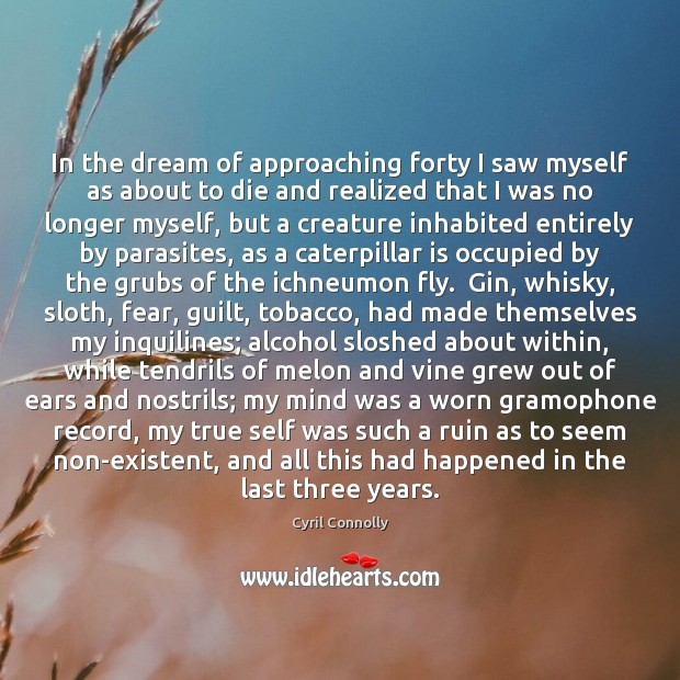 In the dream of approaching forty I saw myself as about to Image