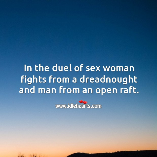 In the duel of sex woman fights from a dreadnought and man from an open raft. Image