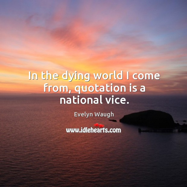 Image, In the dying world I come from, quotation is a national vice.