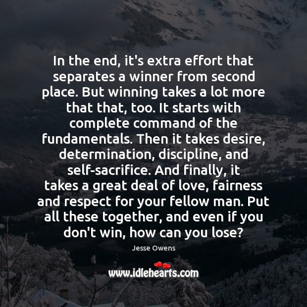 Image, In the end, it's extra effort that separates a winner from second