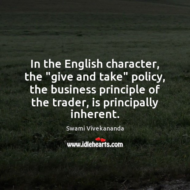 """Image, In the English character, the """"give and take"""" policy, the business principle"""