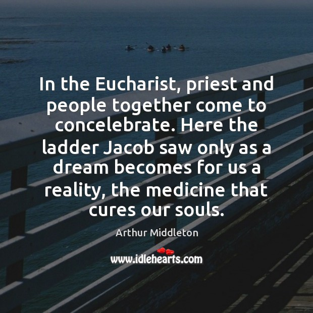 Image, In the Eucharist, priest and people together come to concelebrate. Here the