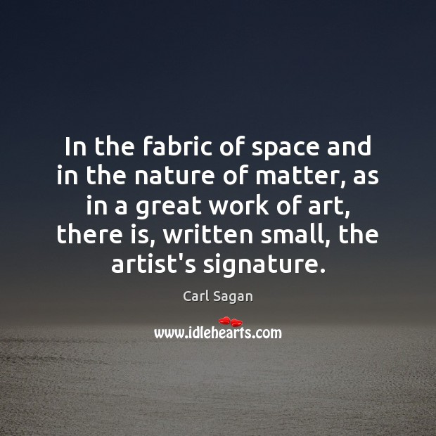 Image, In the fabric of space and in the nature of matter, as