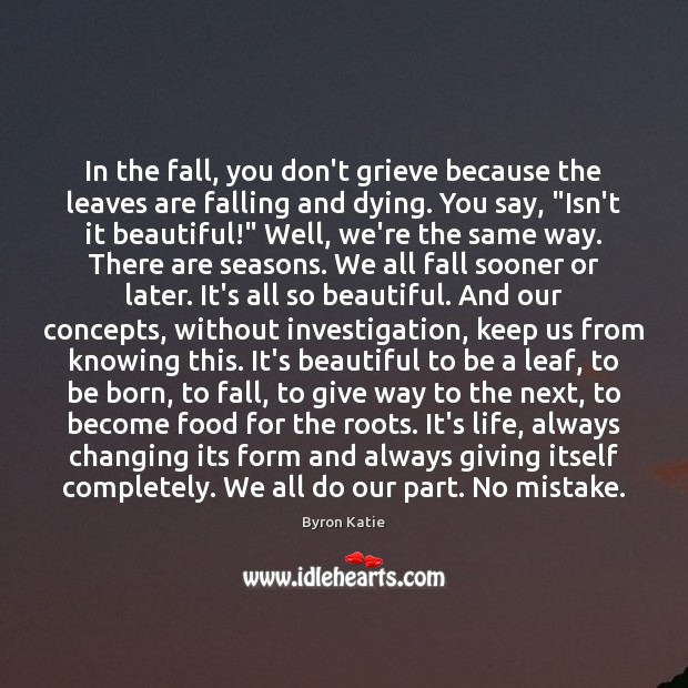 In the fall, you don't grieve because the leaves are falling and Image