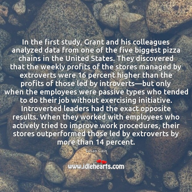 In the first study, Grant and his colleagues analyzed data from one Image