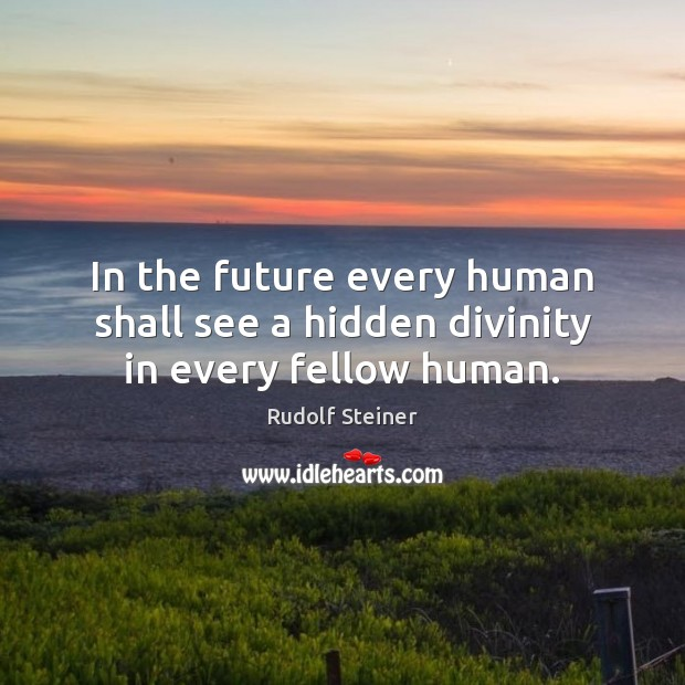 In the future every human shall see a hidden divinity in every fellow human. Rudolf Steiner Picture Quote