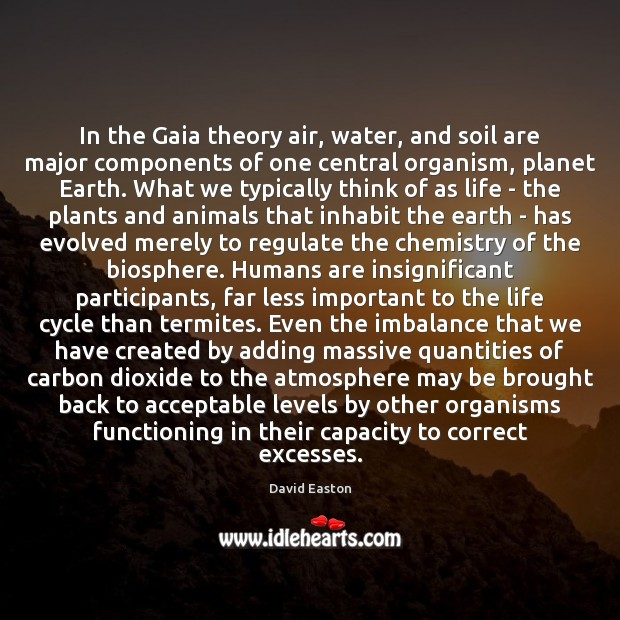 In the Gaia theory air, water, and soil are major components of Image