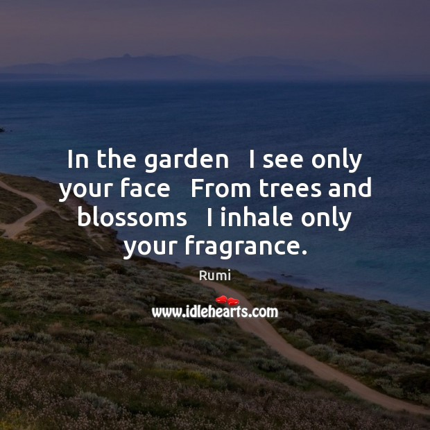 In the garden   I see only your face   From trees and blossoms Image