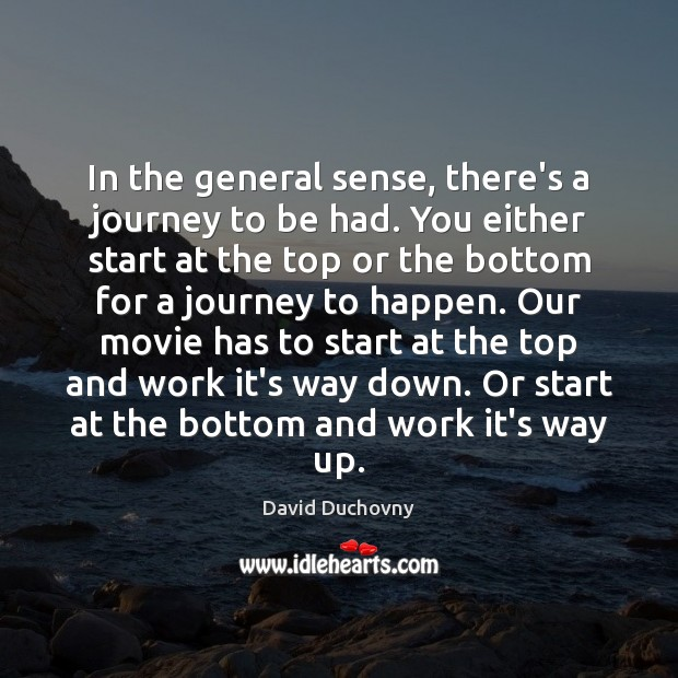 In the general sense, there's a journey to be had. You either David Duchovny Picture Quote