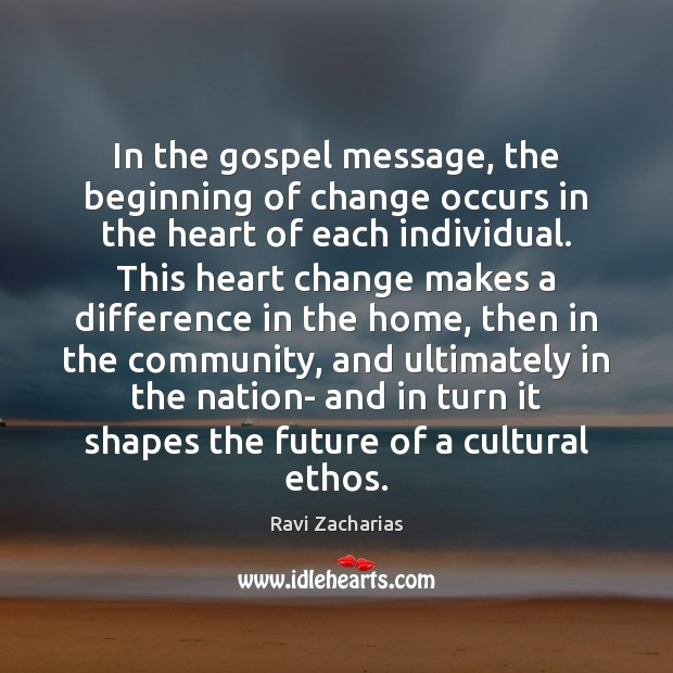 Image, In the gospel message, the beginning of change occurs in the heart