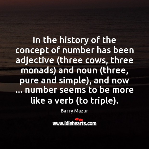 Image, In the history of the concept of number has been adjective (three