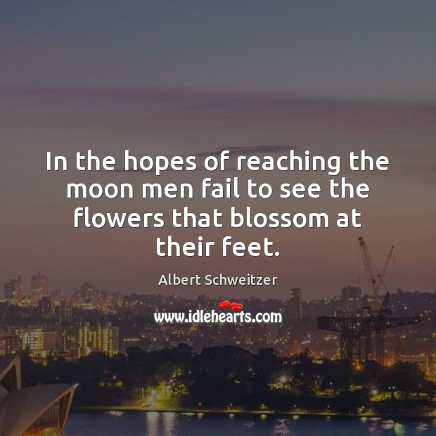 Image, In the hopes of reaching the moon men fail to see the flowers that blossom at their feet.