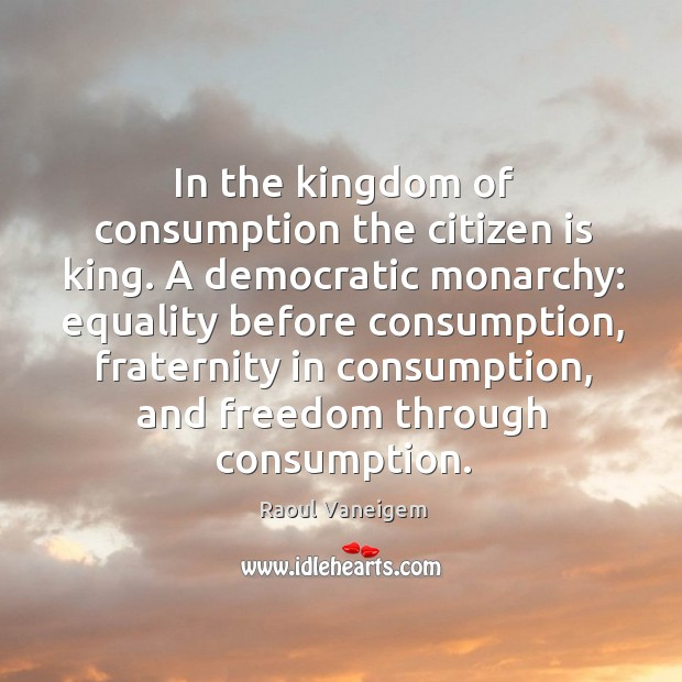 In the kingdom of consumption the citizen is king. A democratic monarchy: equality before consumption Raoul Vaneigem Picture Quote