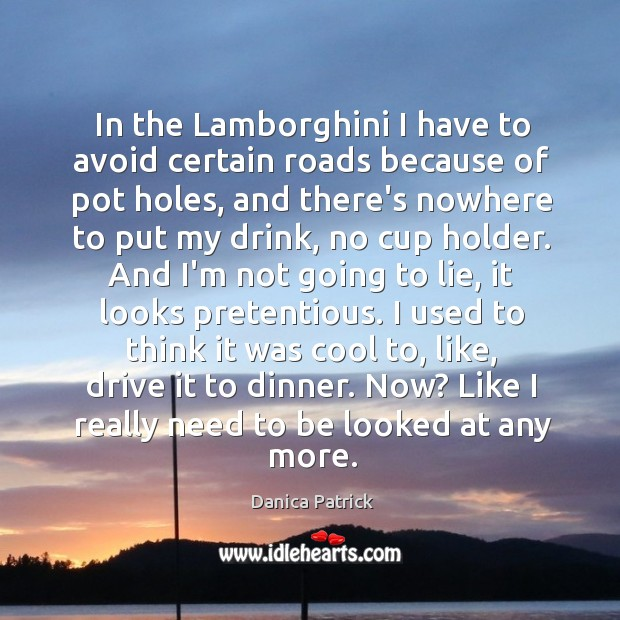 In the Lamborghini I have to avoid certain roads because of pot Danica Patrick Picture Quote