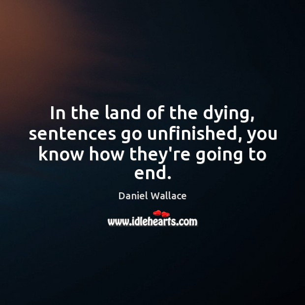 In the land of the dying, sentences go unfinished, you know how they're going to end. Daniel Wallace Picture Quote
