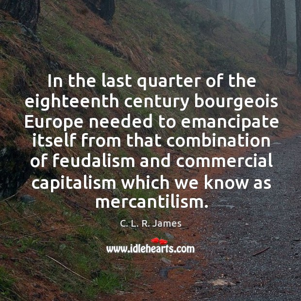In the last quarter of the eighteenth century bourgeois C. L. R. James Picture Quote
